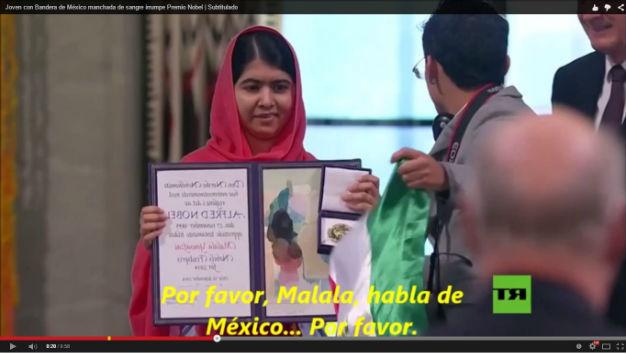 Con bandera mexicana, joven irrumpe en entrega de Nobel a Malala